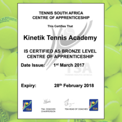 Kinteik Tennis awarded Tennis South Afica Centre of Apprenticeship Bronze Level Certificate