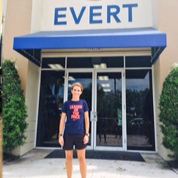 Sofia Foguet standing at the entrance to Evert Tennis Academy in Boca Raton, Florida USA