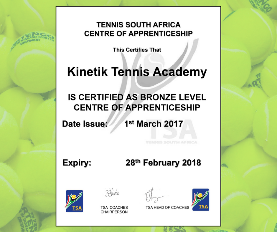 Kinteik Tennis awarded Tennis South Afica Centre of Apprenticeship Bronze Level Certificate